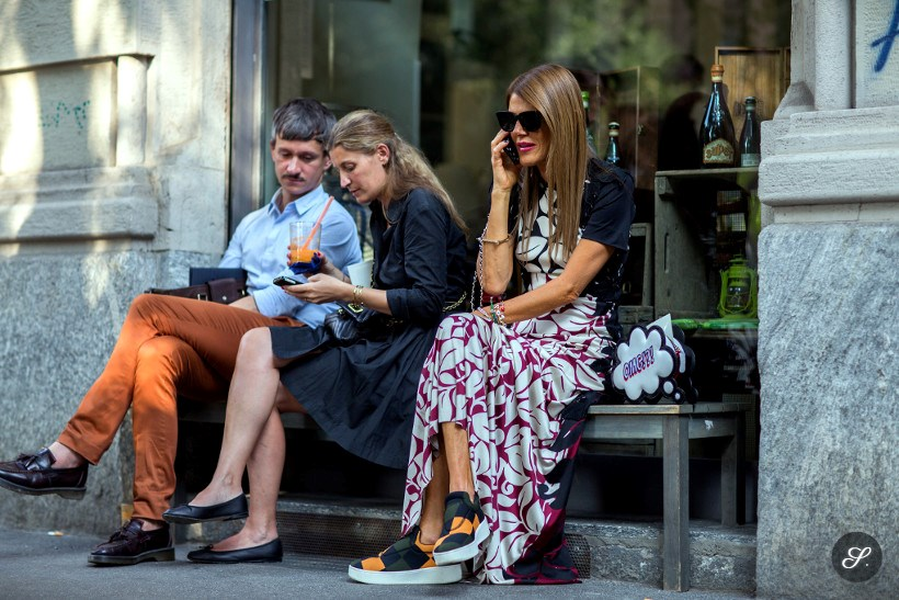Anna dello Russo on a street style photo taken during Milan Fashion Week.