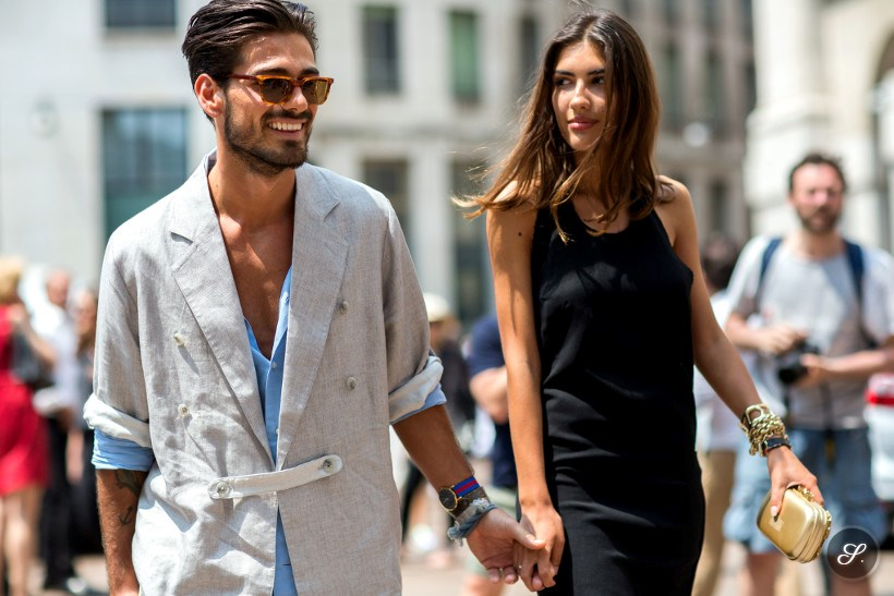 Patricia Manfield & Giotto Calendoli on a street style photo taken during Milan Fashion Week Summer 2014.