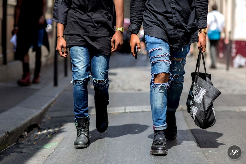 Charly Mensah & Dylan Ratsimbazafy wearing denim jeans during Paris Menswear Fashion Week.