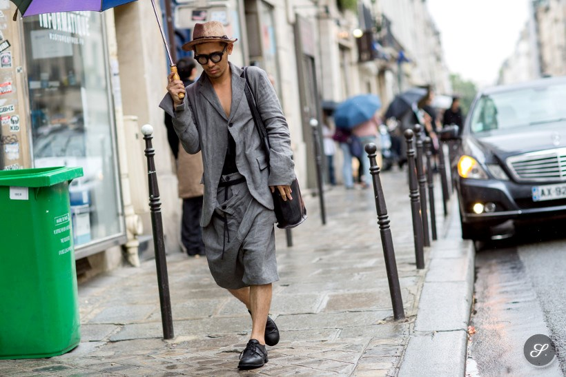 Men wearing streetwear on a streetstyle photo taken during Paris Men's Fashion Week.