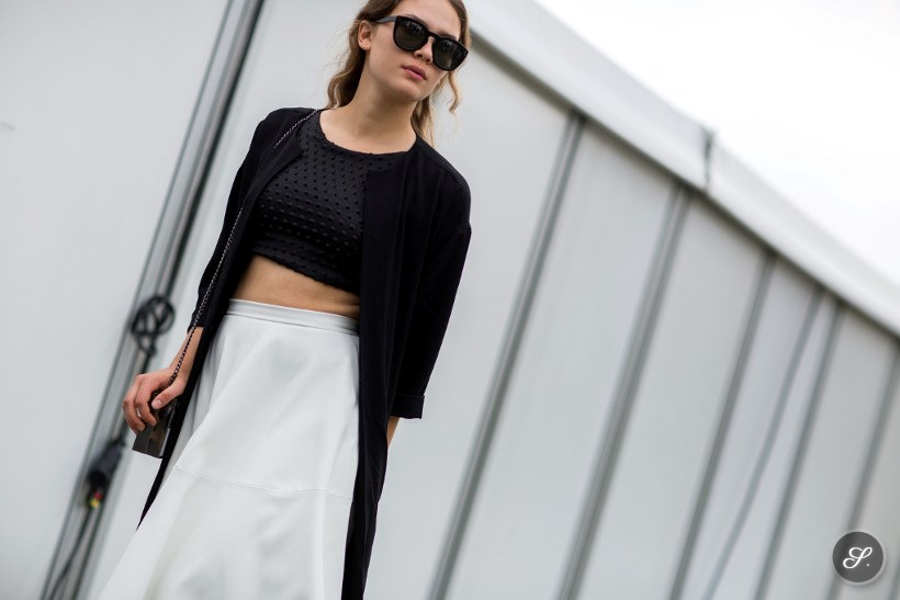 Isis Maria Niedecken wearing a cropped shirt on a summer street style photo taken during MBFWB Berlin Fashion Week Summer 2014.