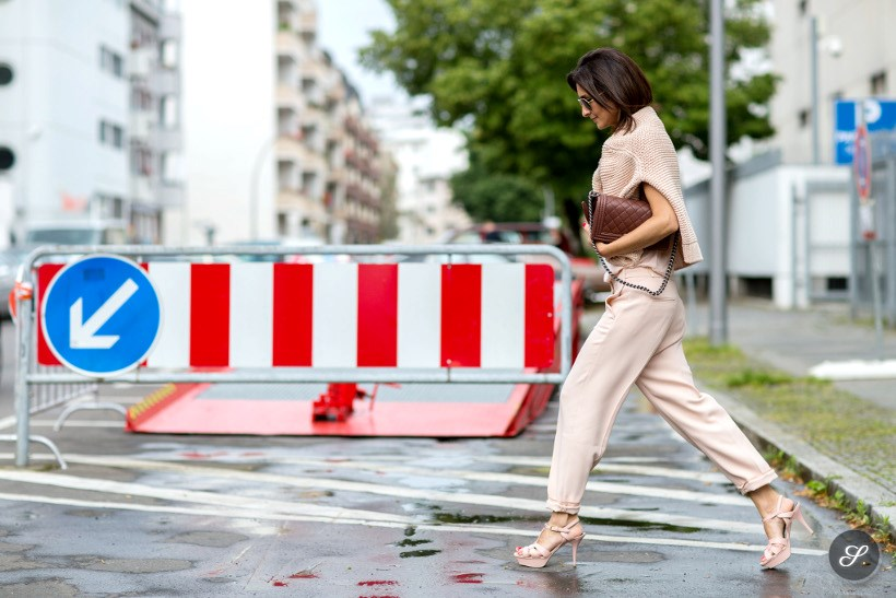 Golestaneh Mayer-Uellner on a streetstyle photo taken before Lala Berlin during MBFWB Fashion Week Berlin.