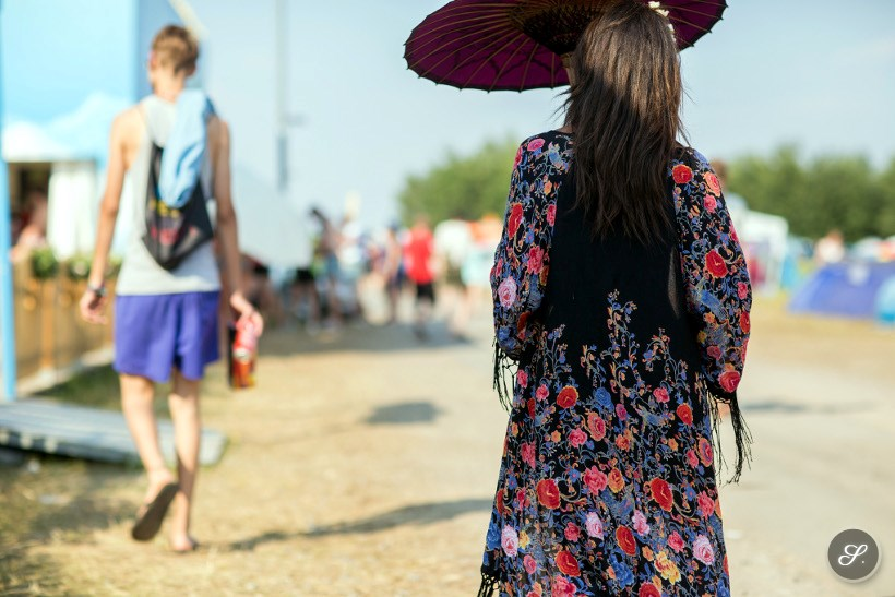 Women wearing a kimono and umbrella as a festival street style at Melt Festival 2014.