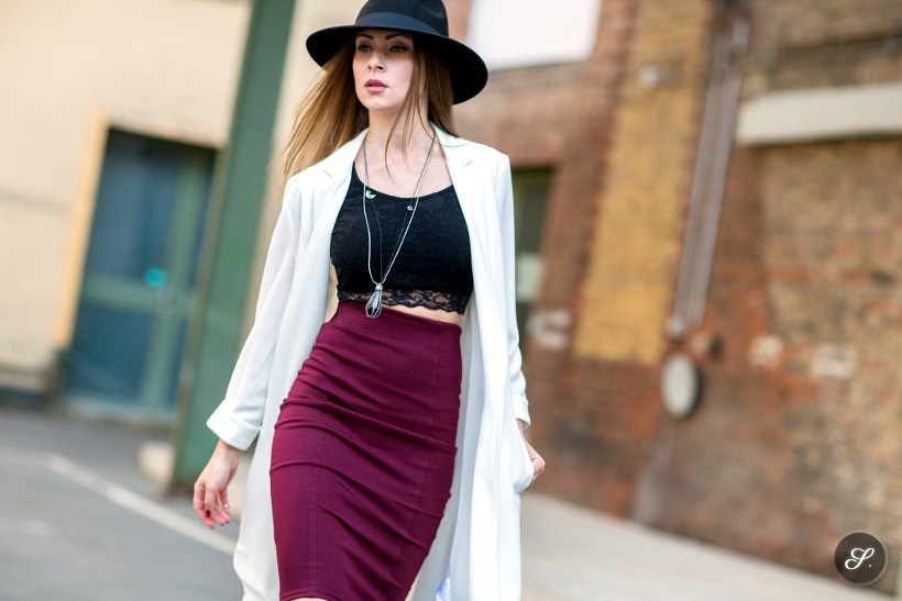 Leta Gestautaite wearing skirt and top on a street style photo taken in Berlin at Blogger Bazaar summer 2014.