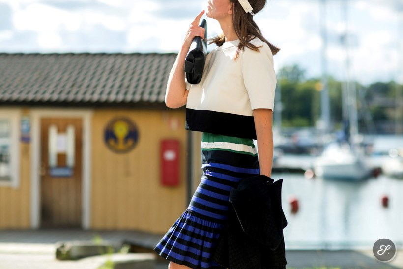 Christine Tongue captured on a street style photo taken during MBFW Stockholm August 2014.