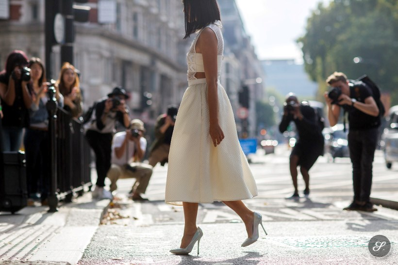 Tiffany Hsu captured on a street style photo before JW Anderson during London Fashion Week SS15.