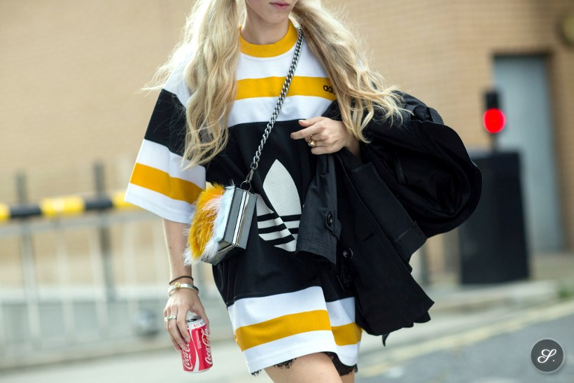 Laura Tønder wearing a Addidas dress on a street style photo taken during London Fashion Week SS 15.