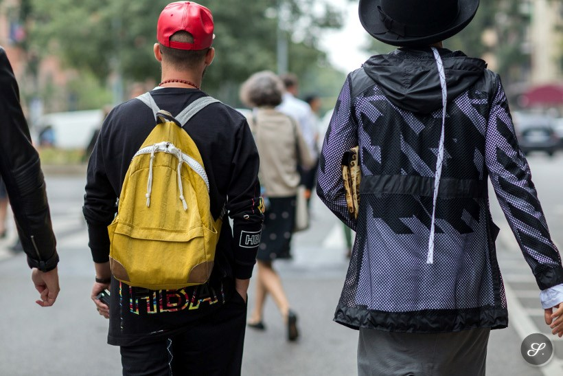 men wearing streetwear on a street style photo