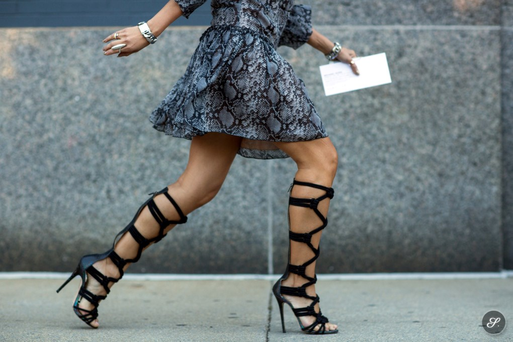 Tina Leung wearing gladiator heels on a street style photo taken during NYFW SS15.