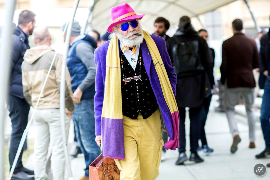 colorful mens fashion street style photo pitti uomo florence