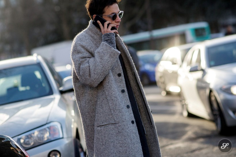 men wearing a winter coat on a street style photo taken after Dior Homme