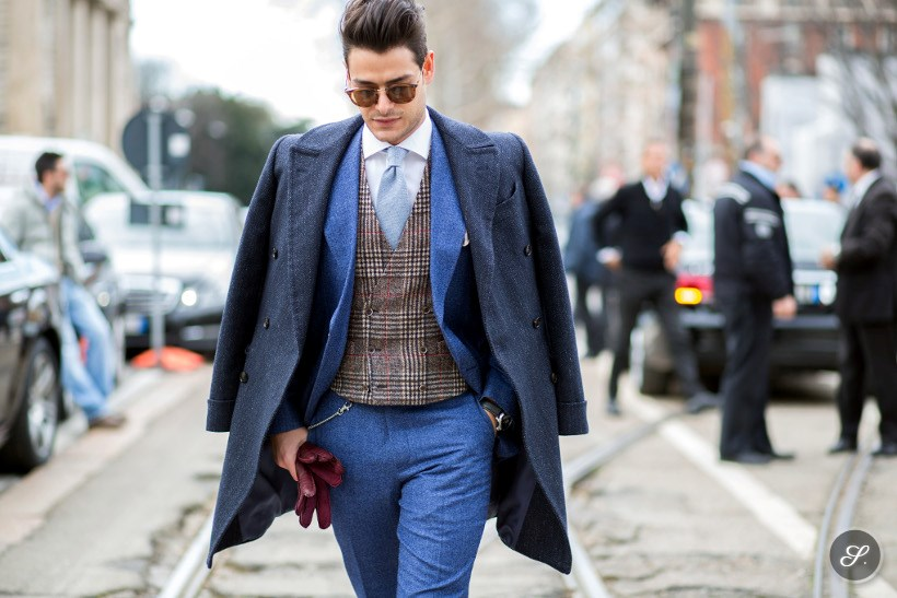 Dapper italian man Frank Gallucci on a street style photo taken during Milan Fashion Week.