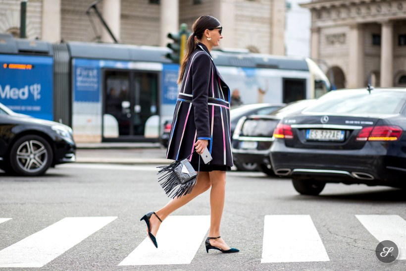 Giovanna Battaglia on a street style photo taken after Gucci during MFW Milan Women's Fashion Week Autumn/Winter 2015.