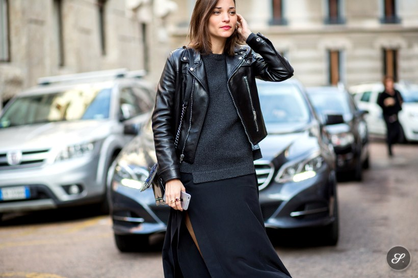 Maria Dueñas Jacobs on a street style photo taken during Milan Fashion Week AW15