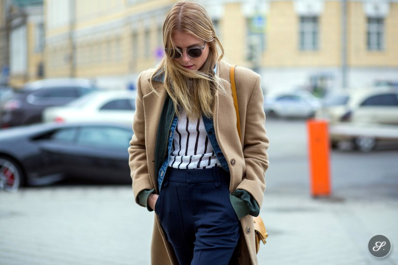 Fashion model Dree Hemingway on a street style photo taken during Moscow Fashion Week