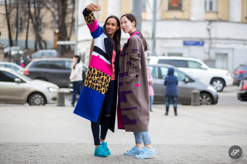 At Moscow Fashion Week street style photo