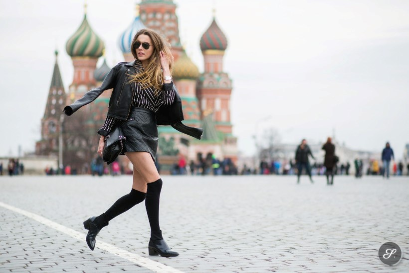 Mary Leest on a street style photo taken during Moscow Fashion Week