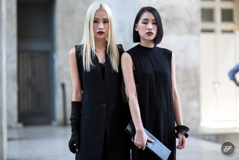 Women street style before Rick Owens during Paris Fashion Week.