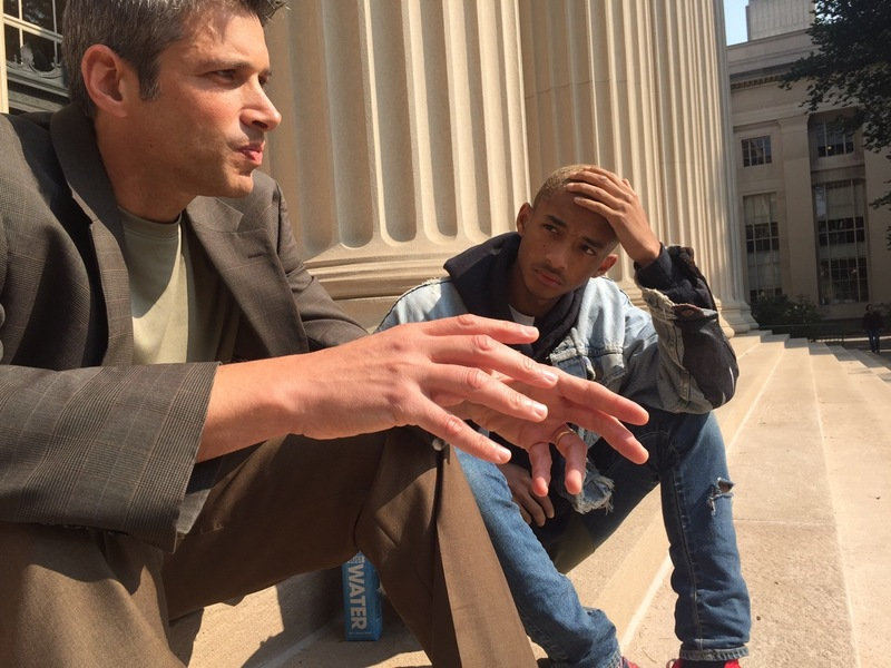 Grossman meets with Smith on the steps of MIT
