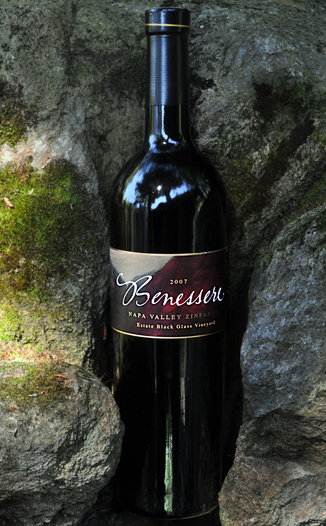 Benessere Vineyards 2007 Black Glass Vineyard Zinfandel 750ml Wine Bottle