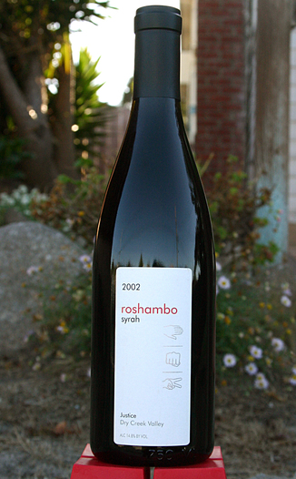 Roshambo Winery 2002 Justice 750ml Wine Bottle