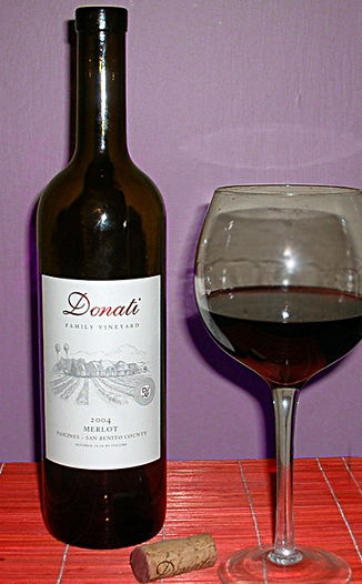 Donati Family Vineyard 2004 Merlot 750ml Wine Bottle