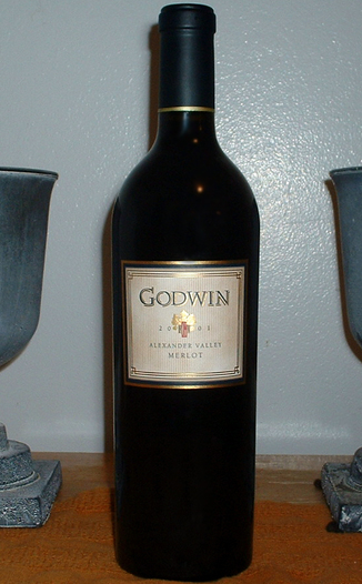 Godwin Family Vineyards 2001 Alexander Valley Merlot  750ml Wine Bottle