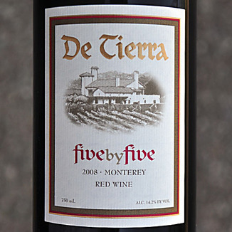 De Tierra Vineyards 2008 Five by Five Bordeaux Blend 750ml Wine Label