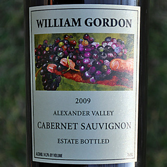 William Gordon Winery 2009 Alexander Valley Estate Cabernet Sauvignon 750ml Wine Label