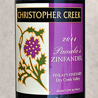Christopher Creek Winery 2011 Pamela's Zinfandel 750ml Wine Label