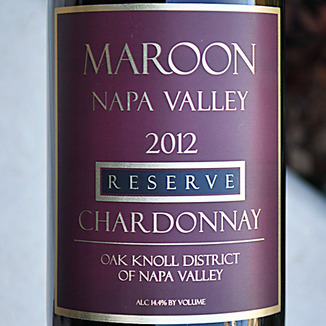 Maroon Wines 2012 Napa Valley Reserve Chardonnay 750ml Wine Label