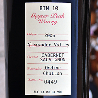 Geyser Peak Winery 2006 Bin 10 Alexander Valley Cabernet Sauvignon 750ml Wine Label