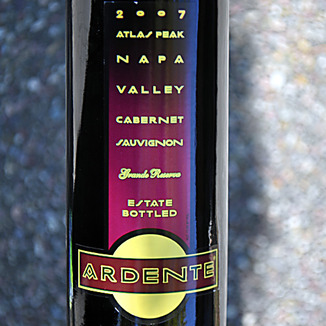 Ardente Estate 2007 Atlas Peak Napa Grande Reserve Cabernet 750ml Wine Label