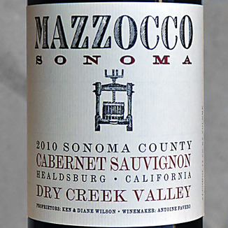 Mazzocco Winery 2010 Dry Creek Valley Cabernet Sauvignon 750ml Wine Label