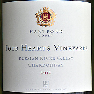 Hartford Family Winery 2012 Four Hearts Vineyard Chardonnay 750ml Wine Label