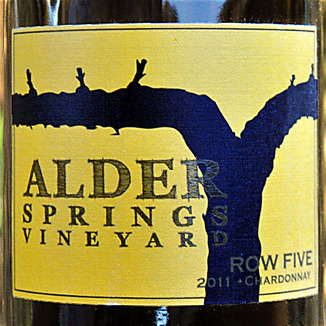 Alder Springs Vineyard 2011 Row Five Chardonnay 750ml Wine Label