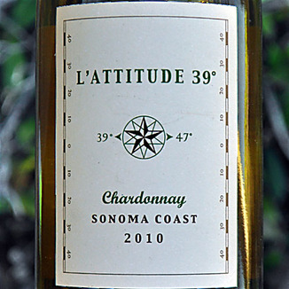 L'Attitude 39 2010 Sonoma Coast Chardonnay 750ml Wine Label