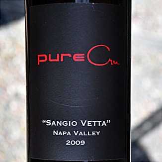 pureCru Wines 2009 Napa Valley Sangio Vetta Sangiovese 750ml Wine Label
