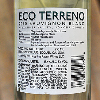Eco Terreno 2010 Alexander Valley Sauvignon Blanc 750ml Wine Label