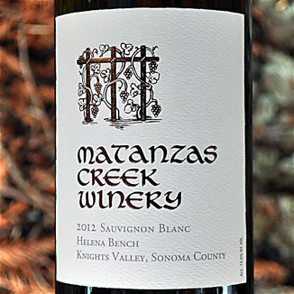 Matanzas Creek Winery 2012 Helena Bench Knights Valley Sauvignon Blanc 750ml Wine Label
