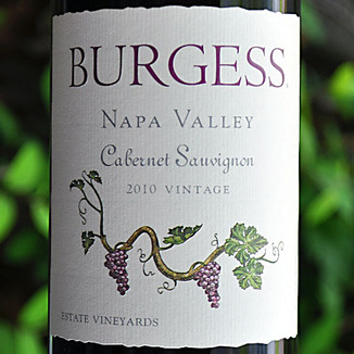 Burgess Cellars 2010 Napa Valley Cabernet Sauvignon 750ml Wine Label