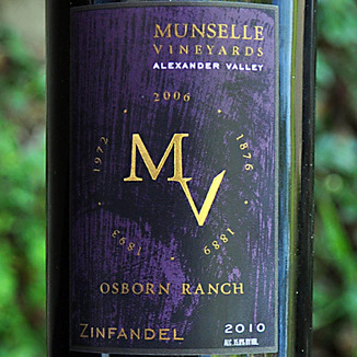 Munselle Vineyards 2010 Alexander Valley Zinfandel 750ml Wine Label