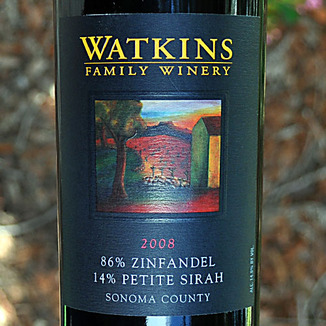 Watkins Family Winery 2008 Sonoma County Zinfandel 750ml Wine Label