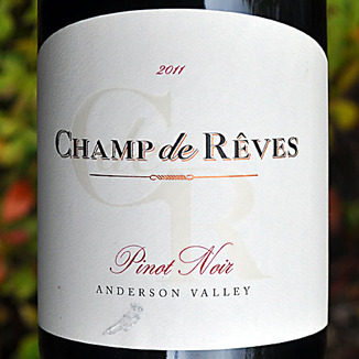 Champ de Reves 2011 Anderson Valley Pinot Noir 750ml Wine Label