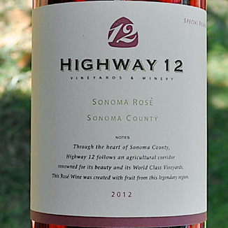 Highway 12 Winery 2012 Special Release Sonoma Rosé 750ml Wine Label