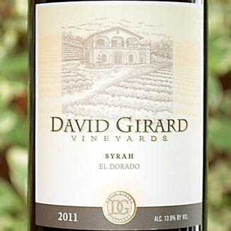David Girard Vineyards 2011 El Dorado Syrah 750ml Wine Label