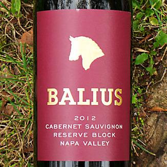 Balius Wines 2012 Reserve Block Napa Valley Cabernet Sauvignon 750ml Wine Label
