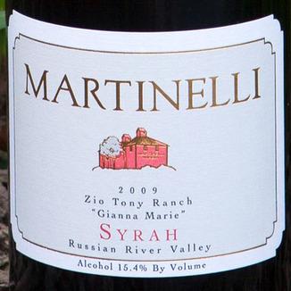 Martinelli Winery 2009 Zio Tony Ranch Syrah 750ml Wine Label
