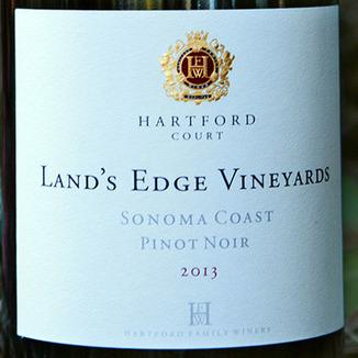 Hartford Family Winery 2013 Pinot Noir Land's Edge Vineyards 750ml Wine Label