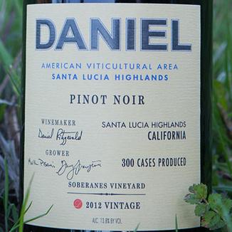 Daniel 2012 Pinot Noir Soberanes Santa Lucia Highlands 750ml Wine Label